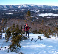 Snowshoeing on mountain tops.