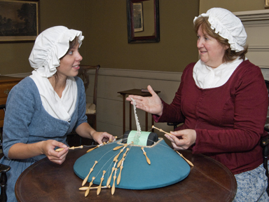 Making lace in Cossit House Museum