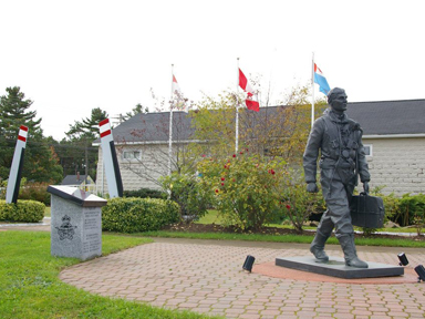 Commemorative Gardens with WWII airman bronze statue