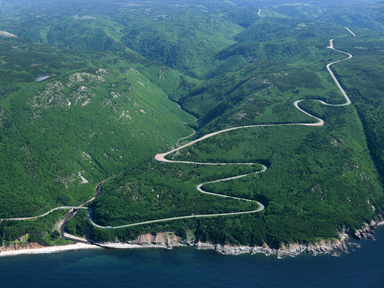 The Cabot Trail winding its way near Pleasant Bay