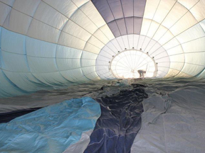 Inflating the balloon for a sunrise flight